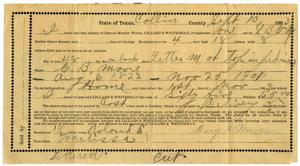 Primary view of object titled '[Receipt for a headstone, September 10, 1903]'.