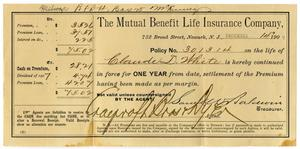 Primary view of object titled '[Receipt for life insuracne, 1907]'.