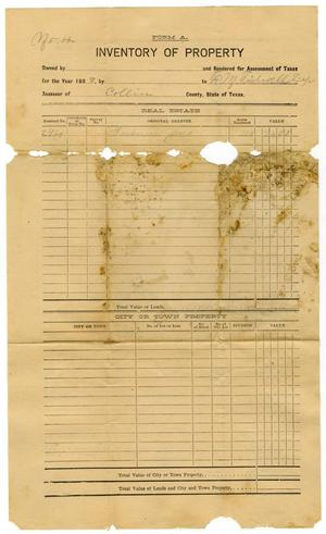 Primary view of object titled '[Inventory of Property, 1899]'.