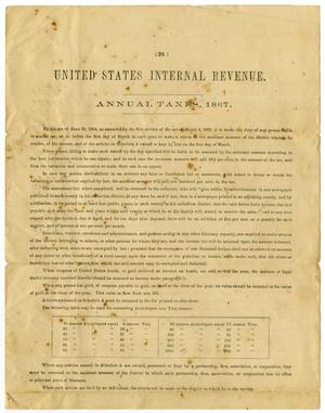 Primary view of object titled '[Internal Revenue Form, 1867]'.