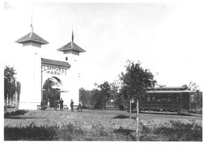 Primary view of object titled '[A Streetcar at Elmhurst Park]'.
