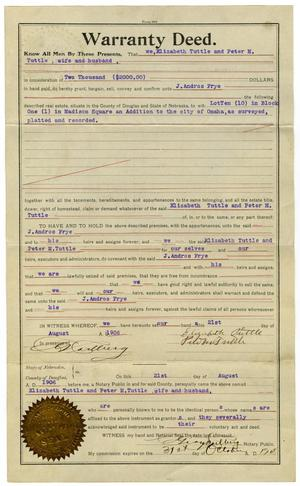 Primary view of object titled '[Warranty Deed, August 21, 1906]'.