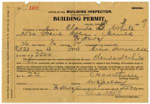 Primary view of object titled '[Building Permit, November 3, 1909]'.
