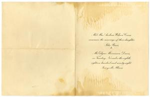 Primary view of object titled '[Wedding announcement for Ida Barr and Edgar Morrisson Davis, November 8, 1898]'.