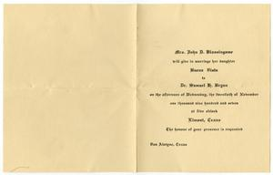Primary view of object titled '[Wedding announcement for Buena Vista Blassingame and Samuel G. Bryan, November 20, 1907]'.