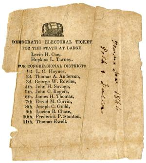 Primary view of object titled '[Democratic Electoral Ticket in Tennessee, 1844]'.