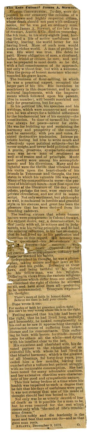 Primary view of object titled '[Late Colonel James A. Stewart newspaper clipping. December 9, 1879]'.