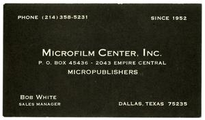 Primary view of object titled '[Business card for Bob White]'.