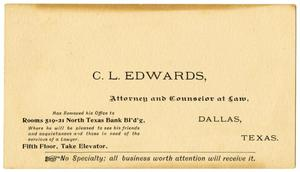 Primary view of object titled '[Business card for C. L. Edwards]'.
