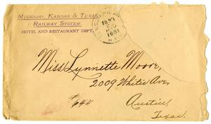 Primary view of object titled '[Envelope address to Linnet Moore]'.