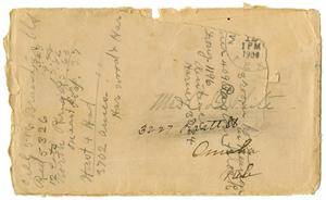 Primary view of object titled '[Envelope addressed to Mrs. Claude White]'.