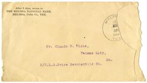 [Envelope addressed to Mr. Claude D. White]