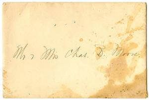 Primary view of object titled '[Envelope addressed to Mr. and Mrs. Moore]'.