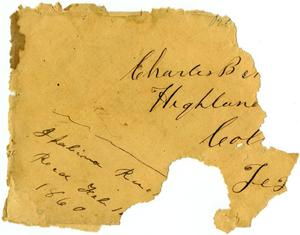 Primary view of object titled '[Envelope addressed to Charles Moore, February 1, 1860]'.