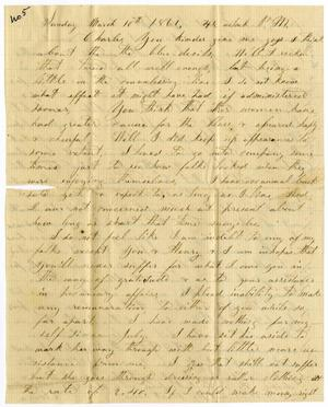 [Letter from Elvira Moore to Charles B. Moore, March 10, 1861]