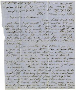 Primary view of object titled '[Letter from Ziza Moore to Charles Moore and Sabina Rucker, May 22, 1861]'.