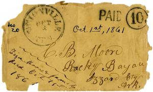 Primary view of object titled '[Envelope from Ziza Moore and Family to Charles B. Moore, October 1, 1861]'.