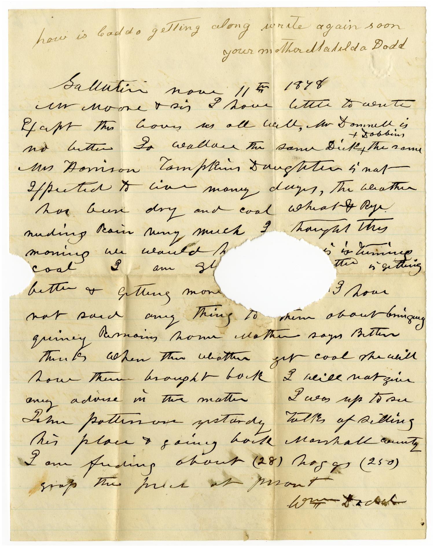[Letter from Matilda and William Dodd to Mr. Moore and Sis, November 1878]                                                                                                      [Sequence #]: 2 of 2