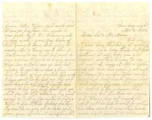 Primary view of object titled '[Letter from Dinkie McGee to her Sister and Mr. Moore, November 2, 1879]'.