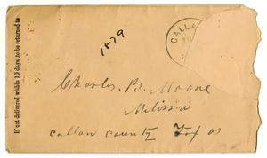 Primary view of object titled '[Envelope for Charles B. Moore, 1879]'.