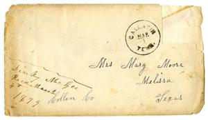 Primary view of object titled '[Envelope from Dinkie McGee for Mary Moore, March 1, 1879]'.
