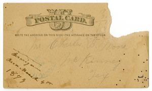 Primary view of object titled '[Postcard for Charles B. Moore, March 3, 1879]'.