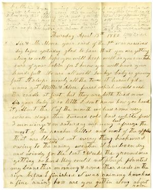 Primary view of object titled '[Letter from William and Matilda Dodd to Charles B. Moore and Mary Ann Dodd Moore, April 15, 1880]'.