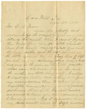 Primary view of object titled '[Letter from John Mcarthy to Charles B. Moore, April 30, 1880]'.