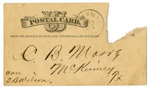 Primary view of object titled '[Postcard from John Wallace, February 25, 1887]'.
