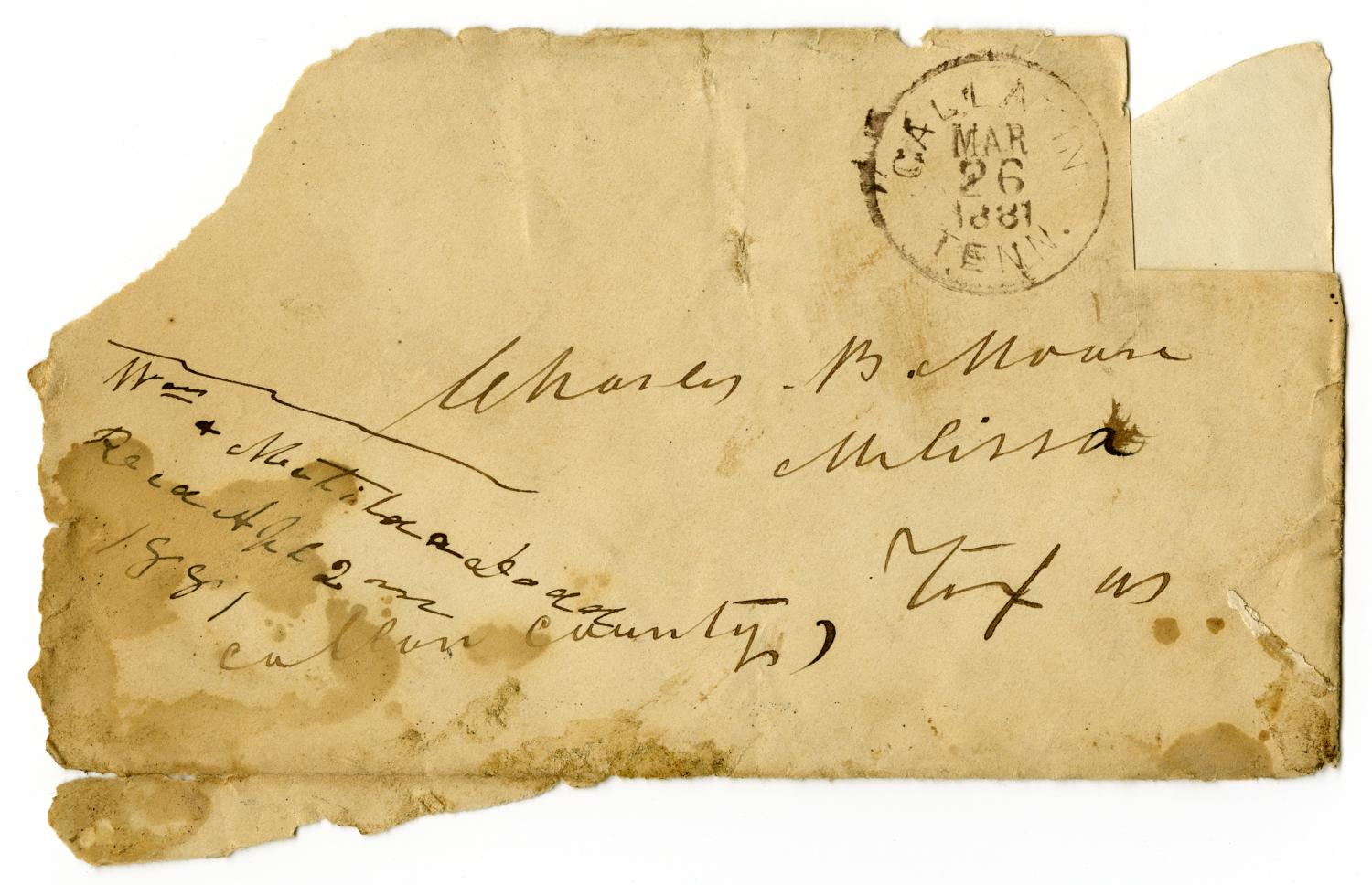 [Envelope from Matilda and William Dodd to C. B. Moore, March 26, 1881]                                                                                                      [Sequence #]: 1 of 2