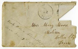 Primary view of object titled '[Envelope from Dinkie, Alice and Willie McGee to Mary and Charles Moore, December 12, 1881]'.
