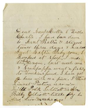 Primary view of object titled '[Letter from Willie and Dinkie McGee to Mollie and Charles Moore]'.