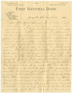 Primary view of object titled '[Letter from J. C. Barr  to C. B. Moore, March 24, 1882]'.