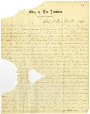 Primary view of object titled '[Letter from Travis Winham to C. B. Moore, September 25, 1882]'.