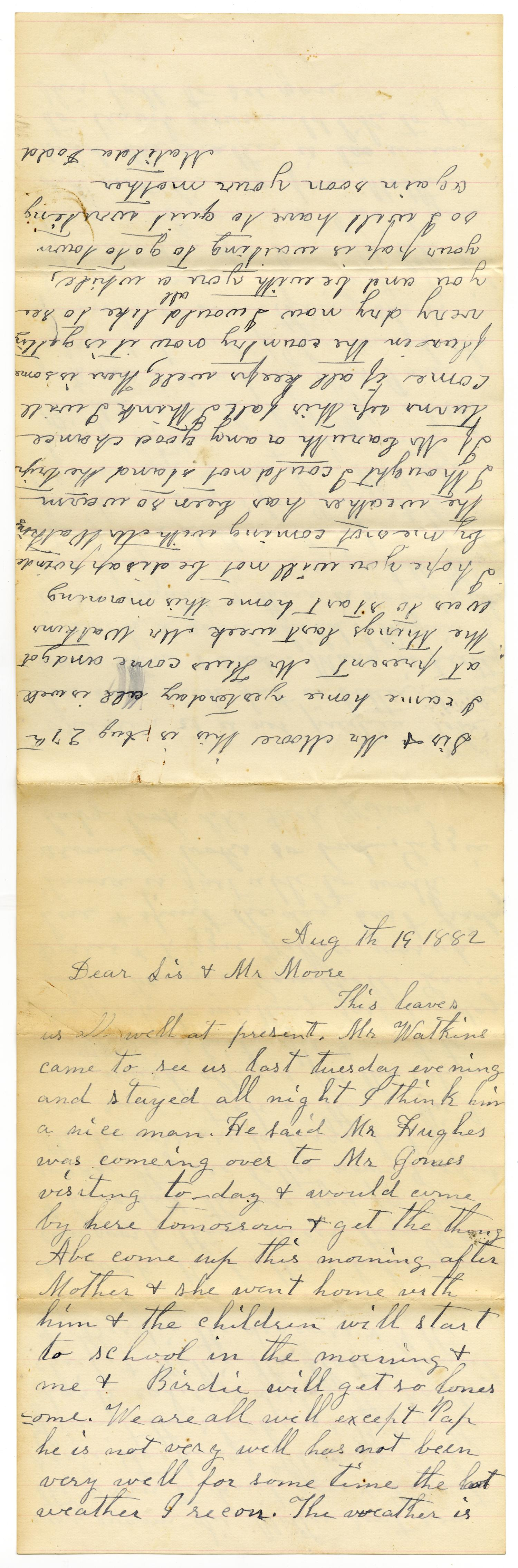 [Letter from Matilda Dodd to Mary Ann Dodd and Charles B. Moore, August 19, 1882]                                                                                                      [Sequence #]: 1 of 4