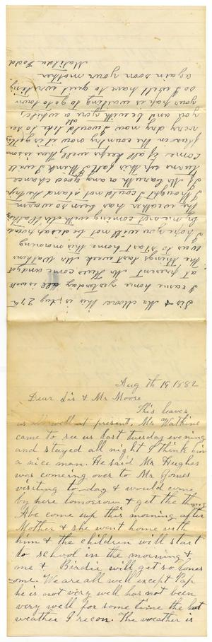 Primary view of object titled '[Letter from Matilda Dodd to Mary Ann Dodd and Charles B. Moore, August 19, 1882]'.