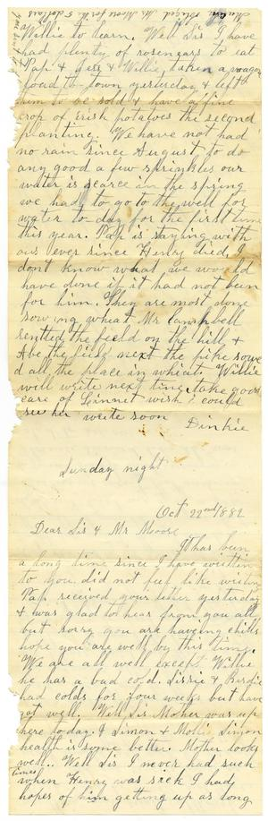 Primary view of object titled '[Letter from Dinkie McGee to Mary Ann Dodd Moore, October 22, 1882]'.