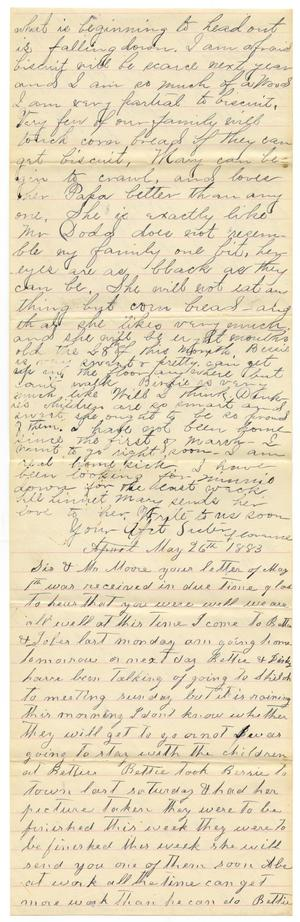 Primary view of object titled '[Letter from Matilda Dodd, Florence Dodd, and Bettie Franklin to Mary Moore, May 26, 1883]'.