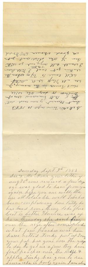 Primary view of object titled '[Letter from William and Matilda Dodd to Mary and Charles B. Moore, September 9-10, 1883]'.