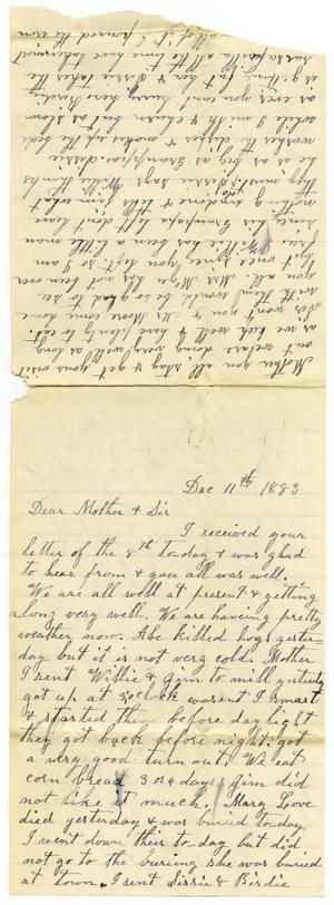 Primary view of object titled '[Letter from Dinkie McGee to her Mother and Sis, December 11, 1883]'.