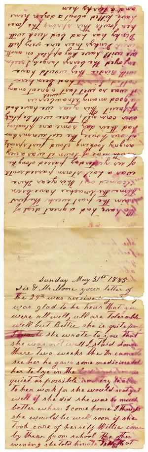 Primary view of object titled '[Letter from Matilda Dodd to Mary and Charles B. Moore, May 31, 1885]'.