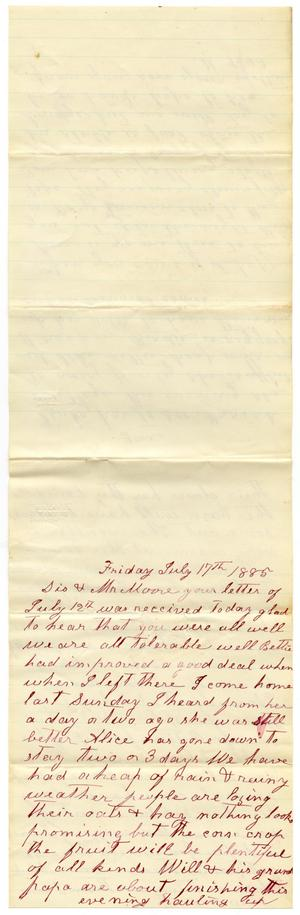Primary view of object titled '[Letter from Matilda Dodd to Mary Ann and Charles B. Moore, July 17, 1885]'.
