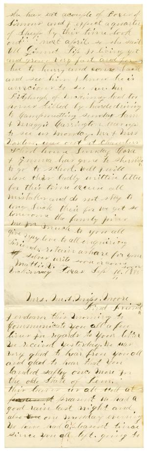 Primary view of object titled '[Letters from Mattie Vanter and Aurelia Vanter to the Moore family, September 10, 1885]'.