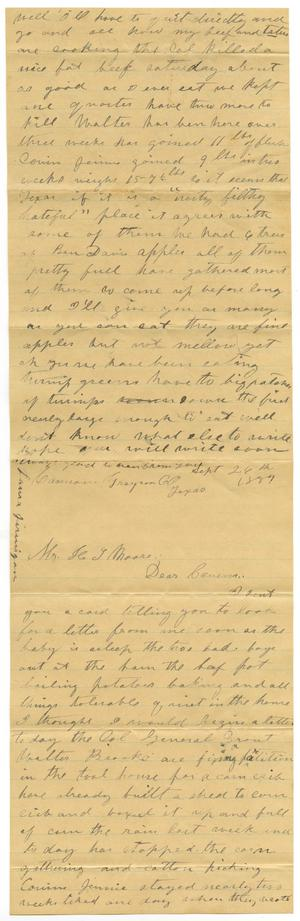 Primary view of object titled '[Letter from Laura Jernigan to Henry Moore, September 26. 1887]'.