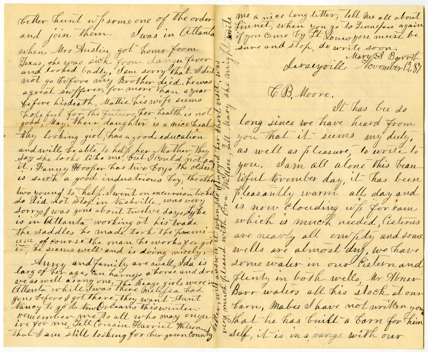 [Letter from Mary A. Barr to Charles B. Moore, November 13, 1887]                                                                                                      [Sequence #]: 1 of 4