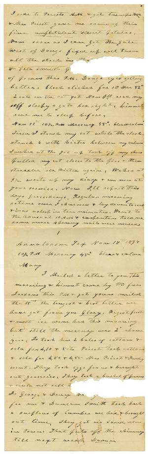 Primary view of object titled '[Letter from Charles B. Moore to Mary Moore, November 17, 1887]'.