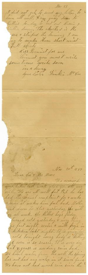 Primary view of object titled '[Letter from Dinkie McGee to Mary and Charles Moore, November 20, 1887]'.