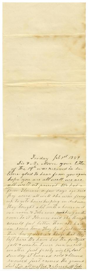 Primary view of object titled '[Letter from Matilda Dodd to Sis and Mr. Moore, February 1, 1889]'.