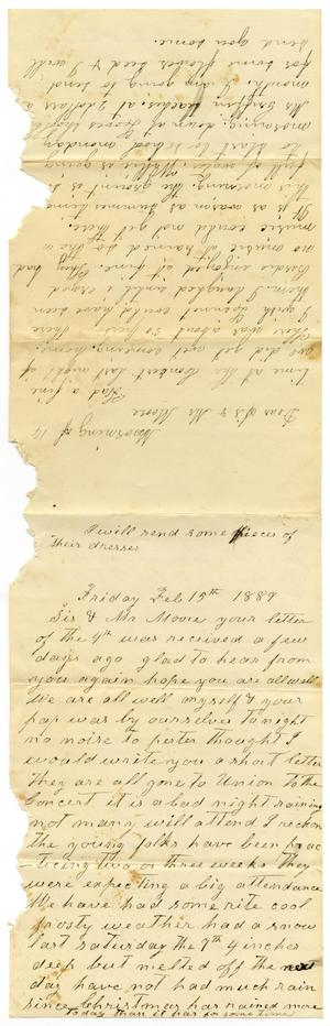 Primary view of object titled '[Letter from Matilda Dodd and Dinkie McGee to Mr. Moore and Sis, February 14, 1889]'.
