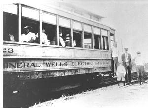 Primary view of object titled '[A Mineral Wells Electric System Trolley Car]'.